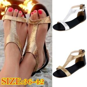 Summer-Women-039-s-Low-Heel-Flat-Roman-Sandals-Flip-Flops-Slingback-Toe-Beach-Shoes