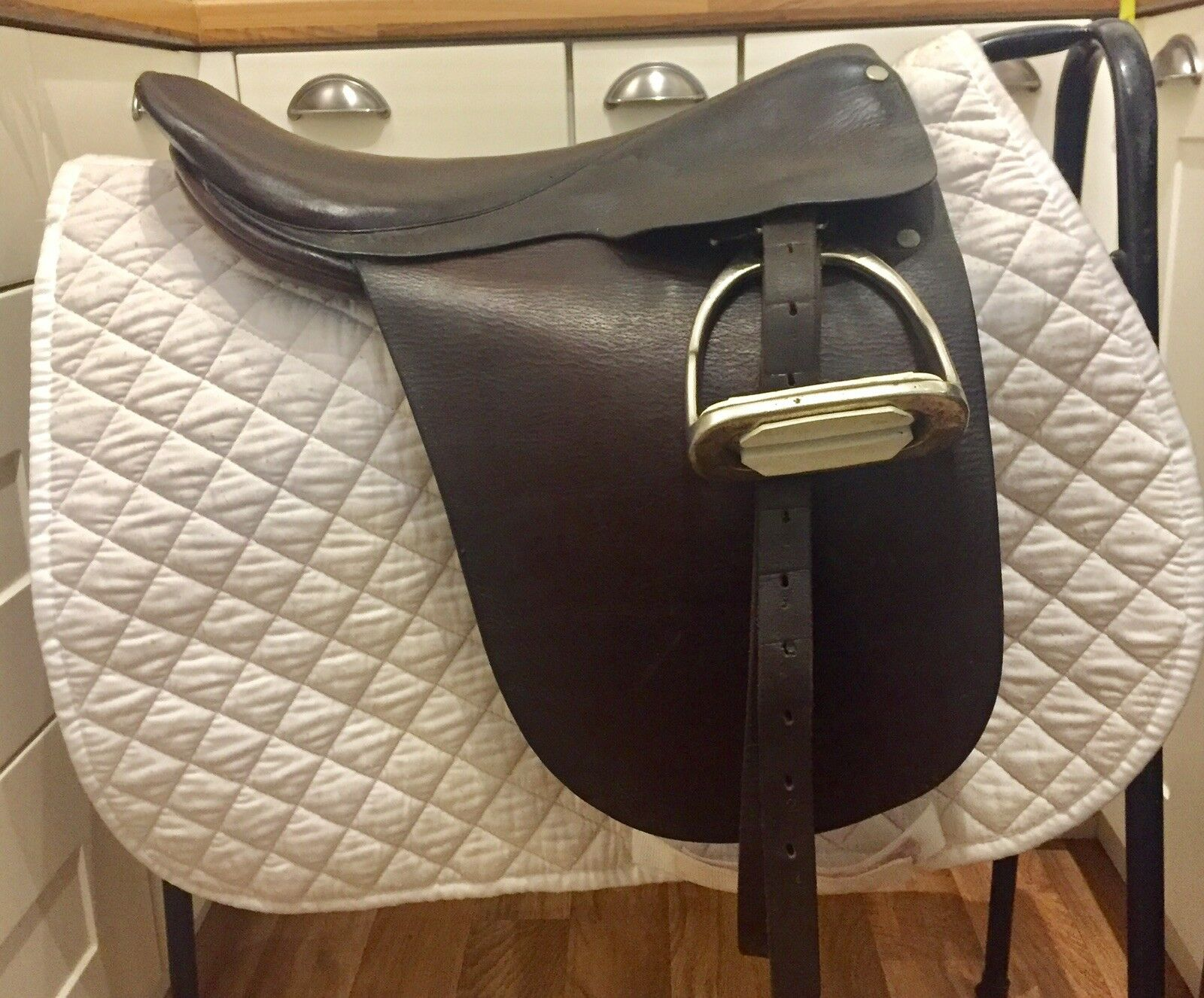 "Brown Leather Monoflap Dressage Saddle 17"" Seat   Medium Fit"