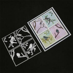 Stanzschablone-Vogel-Zweig-Ast-Weihnachts-Hochzeit-Geburtstag-Karte-Album-Deko