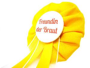 Orden-Freundin-der-Braut-JGA-gelb-Deko-Anstecker-Button-Junggesellinnenabschied