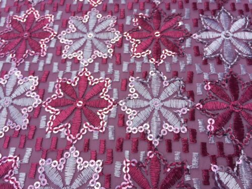 Poly Georgette Embroidered /& Sequinned Fabric /'Pune/' Berry per metre