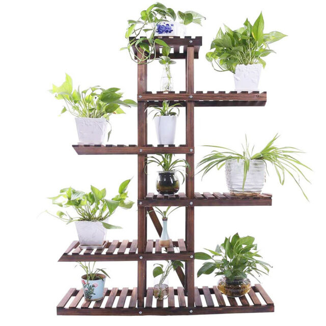 3 Tiers Garden Patio Plant Stand Flower Pot Rack on Wheels 7 Pots Display Home