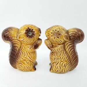 Vintage-3-034-Tall-Glazed-Ceramic-Brown-Tan-Squirrels-Salt-and-amp-Pepper-Shakers-Set