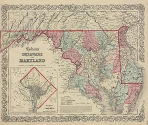 """1859 Colton's  """"MARYLAND & DELAWARE""""-original, ex-atlas"""