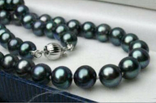 """10mm Tahitian Black South Sea Shell Pearl Round Gems Beads Necklace 18/"""" AAA"""