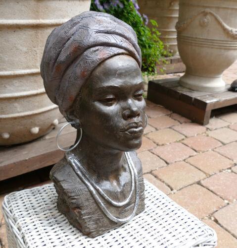 Kopf Büste Frau Ethno Afrikanerin Kolonial Statue Figur Skulptur lebensgroß