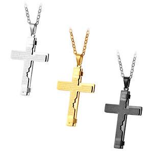 Men-039-s-Stainless-Steel-Christ-Cross-Bible-Text-Prayer-Pendant-Necklace-Chain-22-034