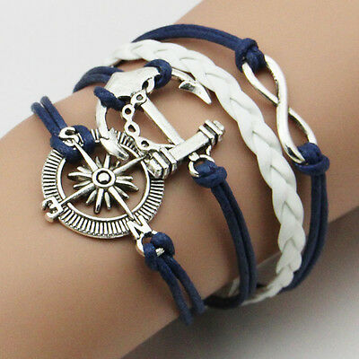 Hot Sale Infinity Love Anchor Leather Cute Charm Bracelet plated Silver