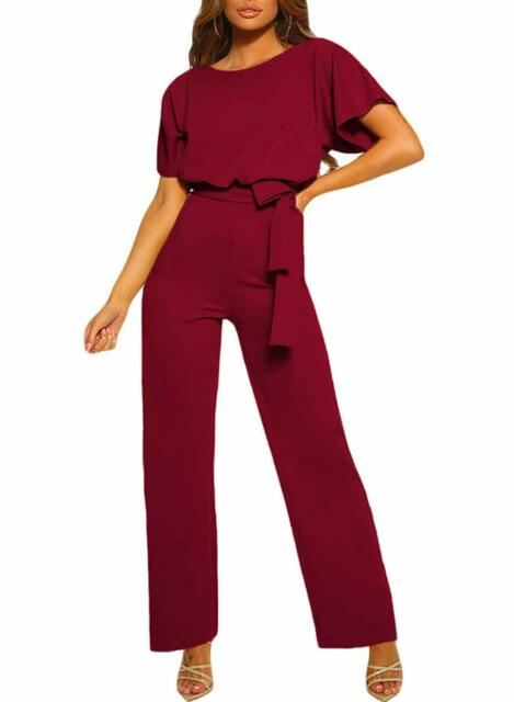 CANIKAT Womens Casual Short Sleeve Belted Jumpsuit Short Pants Back Keyhole Overall Romper Playsuit
