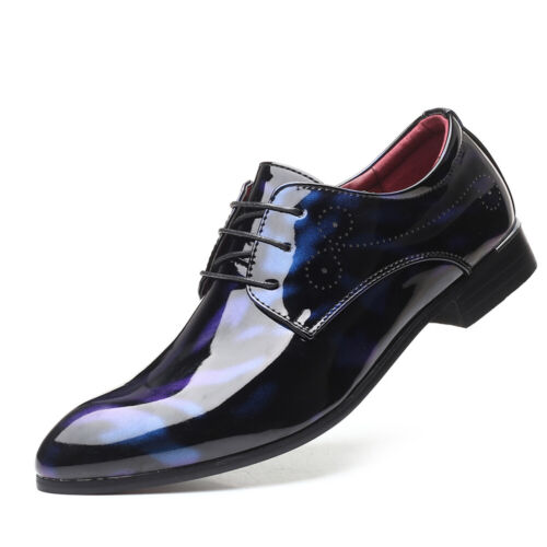 Fashion Men Bright Lace-up Shoes Formal Suit Dress Party Work Casual Wedding US