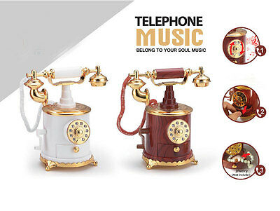 Retro Phone Music Box Plastic Toy Emulational Decoration with Small Drawer