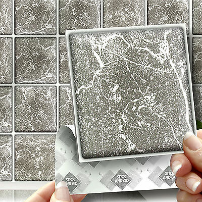 18 Grey Marble Stick On Self Adhesive Wall Tile Stickers For Kitchen & Bathroom