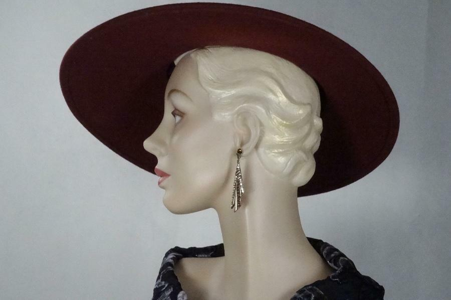 1930s 1940s Style Platter Hat Burgundy Wool Wide … - image 12