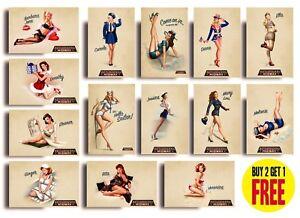 Vintage World War 2 Pin Up Girls Posters A4 A3 World War Posters