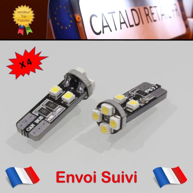 4 x Veilleuses LED T10 W5W 8 SMD Canbus Anti Erreur ODB Blanc Pur / FRANCE !