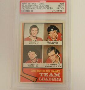1974 O-Pee-Chee Hockey 69 Team Leaders Stan Mikita Chicago Blackhawks PSA 9 (OC)