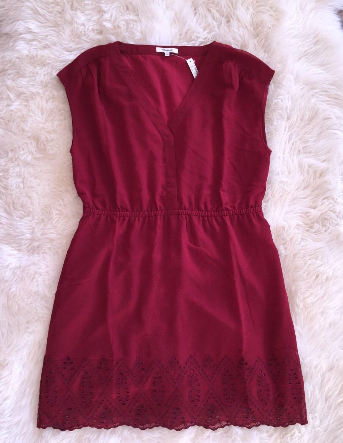 New Madewell    148 Skygaze Eyelet Dress Sz 14 Bright Garnet Red F6076 ec5a31