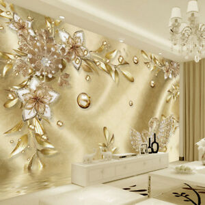 Details About 3d Gold Bling Swans Diamond Luxury Wall Mural Wallpaper Living Room Bedroom
