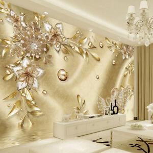 3d Gold Bling Swans Diamond Luxury Wall Mural Wallpaper Living Room Bedroom Ebay