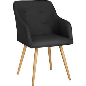 Détails sur Chaise de salle à manger fauteuil cuisine salon design scandinave vintage noir