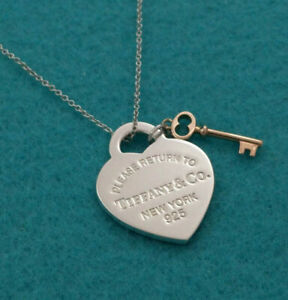 Return To Tiffany Co Silver Heart Tag Rubedo Gold Key Pendant Necklace Ebay