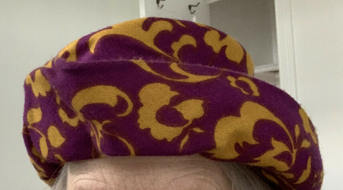 Mardi Gras colors Psychedelic hat purple and mustard wool?