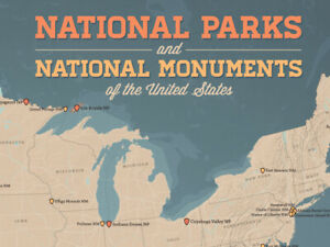 US National Parks & Monuments Map 18x24 Poster (Tan & Slate Blue ...