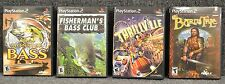 PS2 games Cabela's Monster bass, Fisherman's Bass Club, Thrillville, Bard's Tale