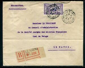 Enveloppe En Recommandé Du Havre En 1922 , Affranchissement Merson - Réf M128 Saveur Pure Et Douce