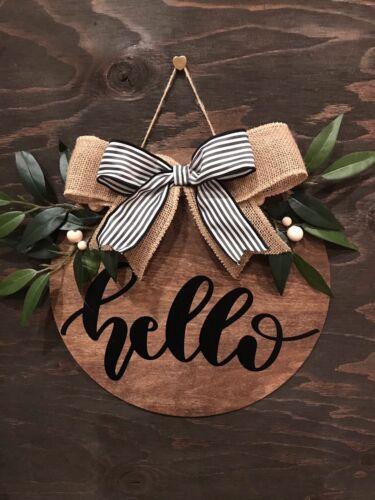 Hello Door Hanger Welcome Sign Round Handmade Gift Decor New Indoor Outdoor