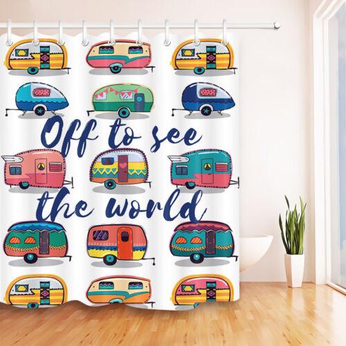 Camper Van Vacation Shower Curtain Liner Bathroom Waterproof Fabric With 12Hooks
