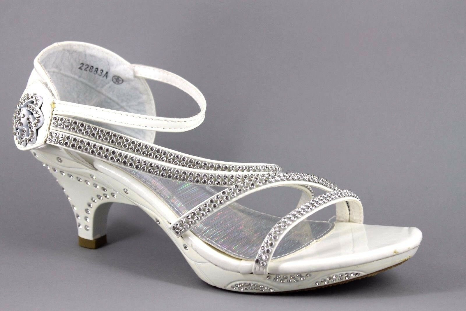 No Doubt Womens UK 5 EU38 Silver Diamante Embellished Touch Close Heeled Sandals