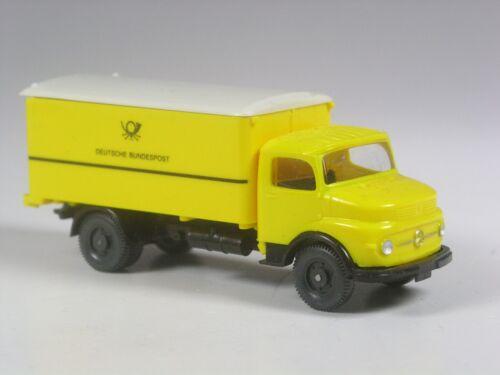 neuwertig Wiking Mercedes 1413 Koffer LKW Bundespost gelb