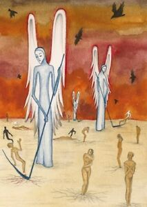ACEO-PRINT-OF-PAINTING-RAVEN-CROW-RYTA-GOTHIC-ANGELS-THE-END-OF-WORLD-SURREALISM