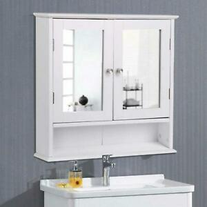 Double Sink Bathroom Vanity Cabinet Doors Medicine Organizer White