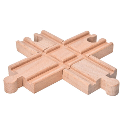 1 Pcs Wooden Cross Bifurcated Track Railway Toys Compatible All Major Brand YJ