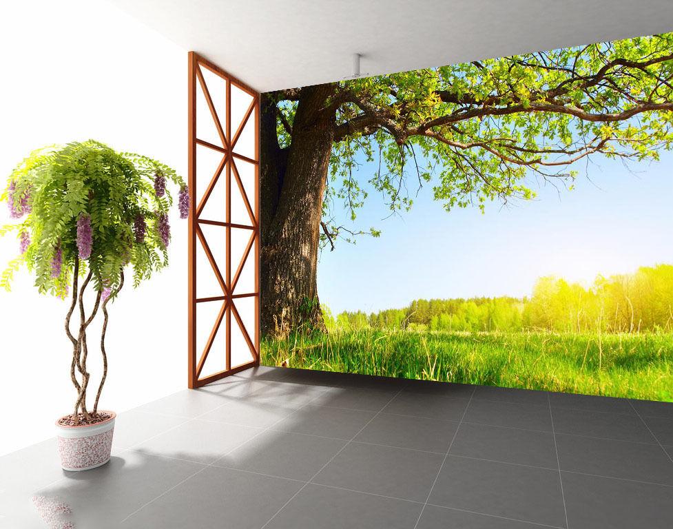 3D Grassland Trees 4099 Wallpaper Decal Dercor Home Kids Nursery Mural Home