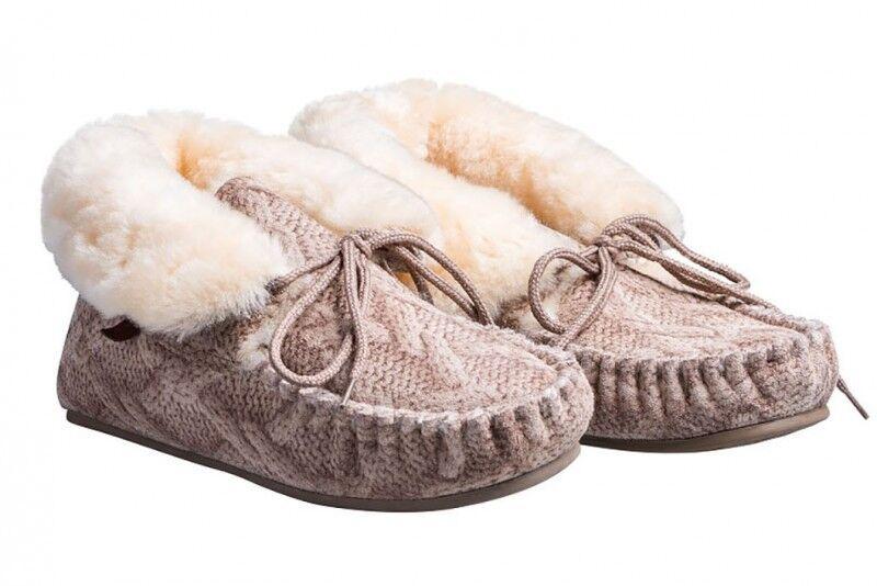 Sandia Lammfell Hausschuhe Mokassin Schuhe Patschen Slipper fellhof warm Puschen
