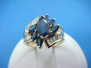 !EXQUISITE 14K YELLOW GOLD GENUINE SAPPHIRE AND DIAMOND LADIES RING, SIZE 6