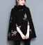 Sjal Clubwear Retro Uld Cloak Coat Blend Hooded Sort Broderet Lady R7n1CWn