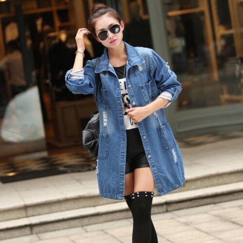 Women Long Sleeve Fashion Outwear Blue Denim Long Jeans Jacket Coat Plus Size