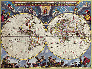 Large framed print double hemisphere world map vintage style image is loading large framed print double hemisphere world map vintage gumiabroncs Image collections