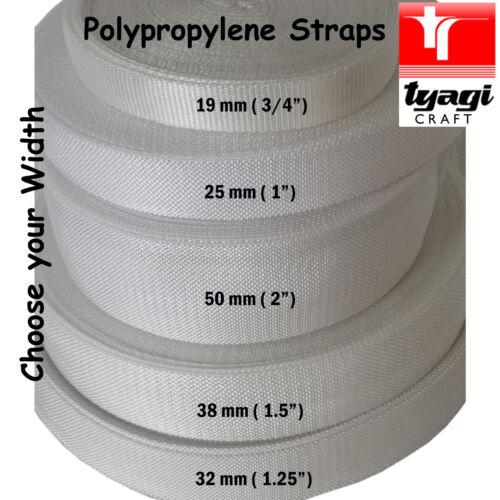 WHITE Polypropylene Tape Strap Bag Handle Webbing Rucksack Lashing Sailing Boat