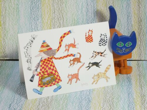 """/""""#MadCatWoman Pied Piper Card Cats/"""" #PeterBrighouseIllustrator"""