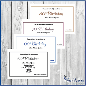 10 x personalised birthday invitations party invites 50 60 70 80 image is loading 10 x personalised birthday invitations party invites 50 filmwisefo