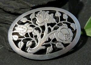 Edle-900-Silber-Brosche-Meisterpunze-Jugendstil-Art-Deco-Rosen-Tracht-Blume