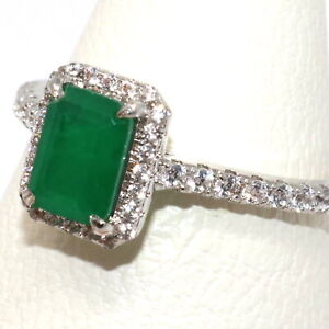 Natural-Genuine-Colombian-Emerald-Ring-Women-Birthday-Jewelry-White-Gold-Plated