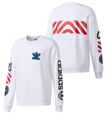 New Adidas Originals Mens Crew Sweatshirt NY White logo Sweater hoodie BQ0897
