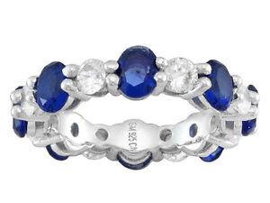 Sz-9-Bella-Luce-Blue-Sapphire-amp-Diamond-Simulant-Rhodium-Over-Silver-Band-Ring