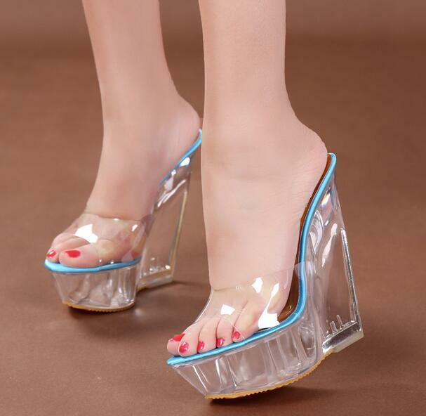 Womens Ladies Peep Toe Mules HOT Wedge Heels Platform Clear Transparent Sandals